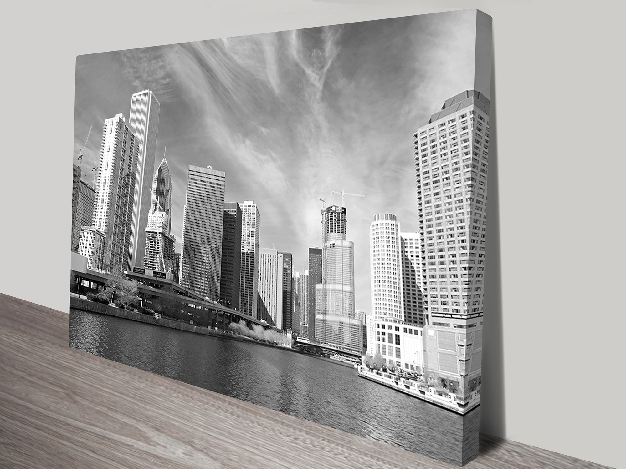 Chicago Black And White Wall Art Print Intended For 2017 White Wall Art (Gallery 7 of 20)