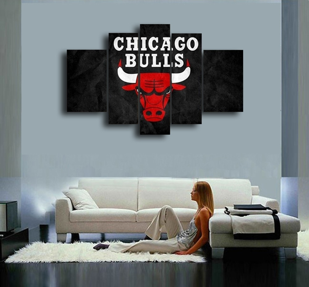 Chicago Bulls Hand Painted Wall Art Canvas Decoration Abstract Oil In Current Chicago Wall Art (View 6 of 15)