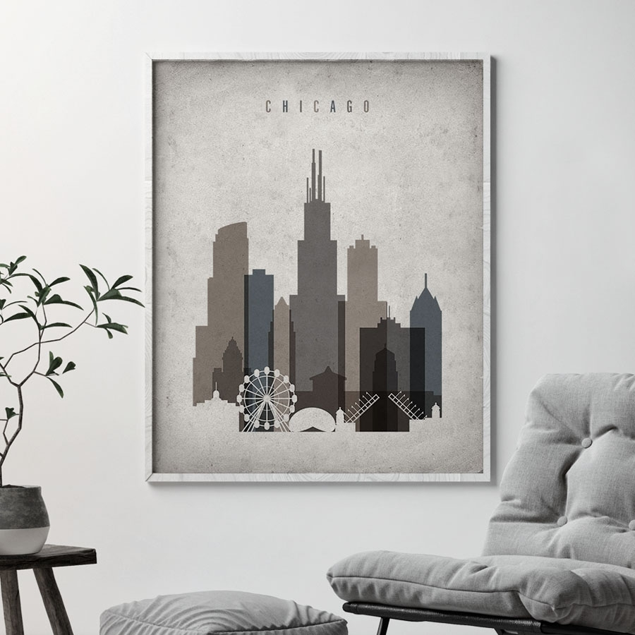Chicago Skyline Wall Art Retro | Artprintsvicky With Most Popular Chicago Wall Art (Gallery 12 of 15)