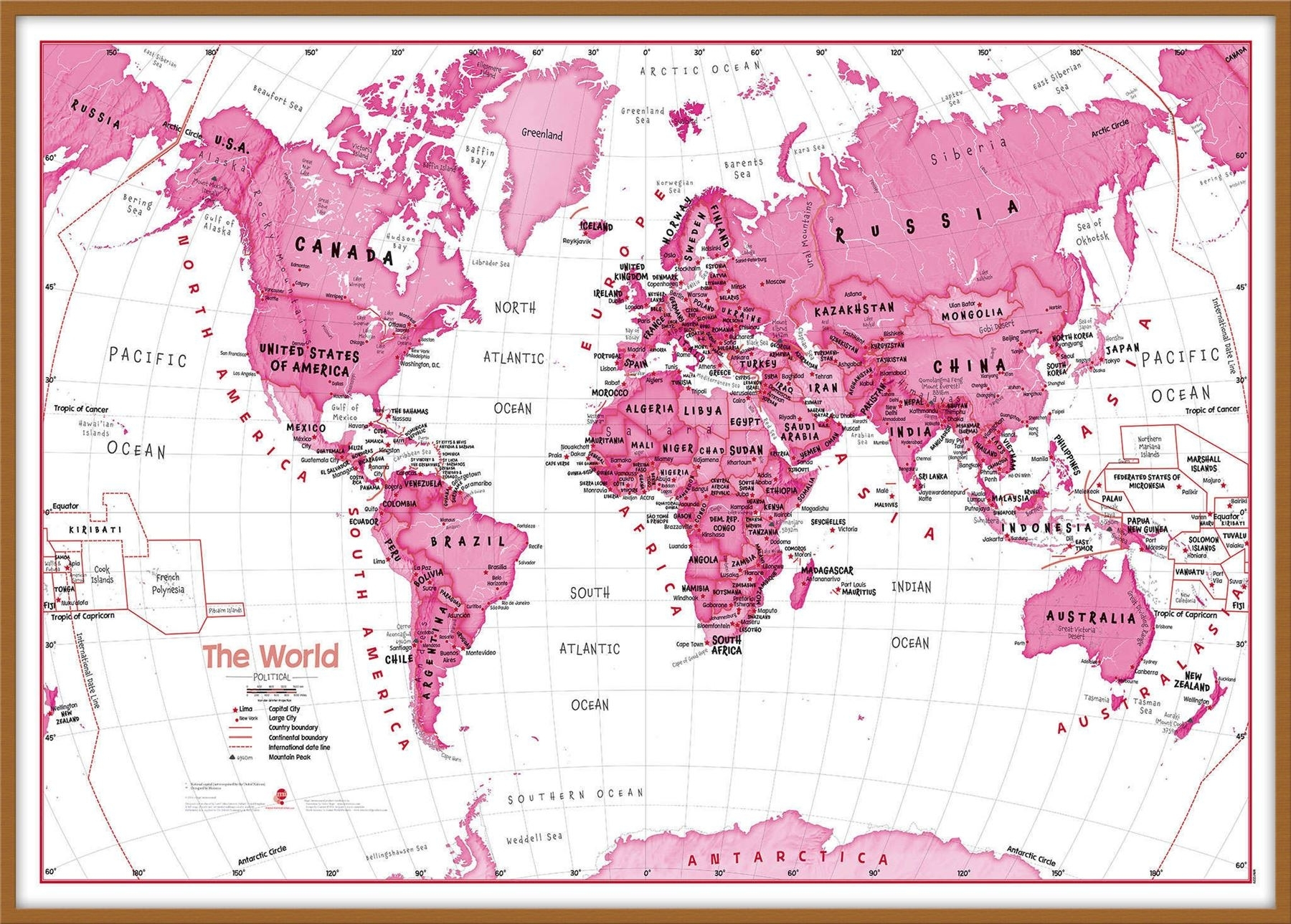 Children's Art Map Of The World Pink Poster Wall Art With Size With Most Recent Pink Wall Art (View 8 of 20)