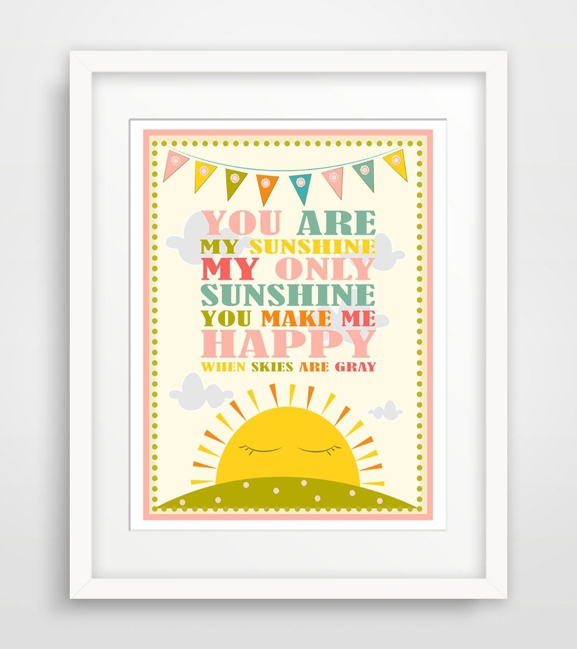 Children's Wall Art / Nursery Decor / Kids Room You Are My Sunshine With Regard To Best And Newest You Are My Sunshine Wall Art (View 7 of 15)