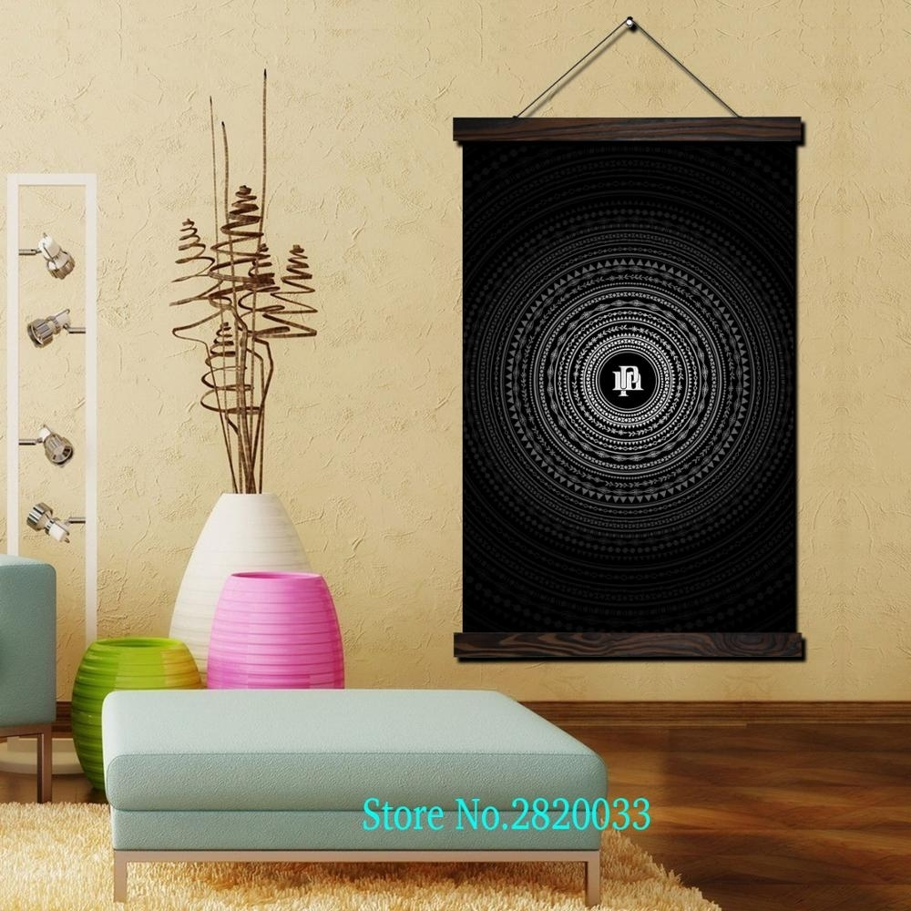 Circle Pm Black Cool Framed Scroll Painting Hd Wall Art Hanging Intended For Most Up To Date Circle Wall Art (View 7 of 20)