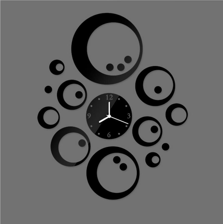 Circles And Point Diy Wall Art Mirror Clock Modern Design Clocks Throughout Best And Newest Circle Wall Art (View 8 of 20)