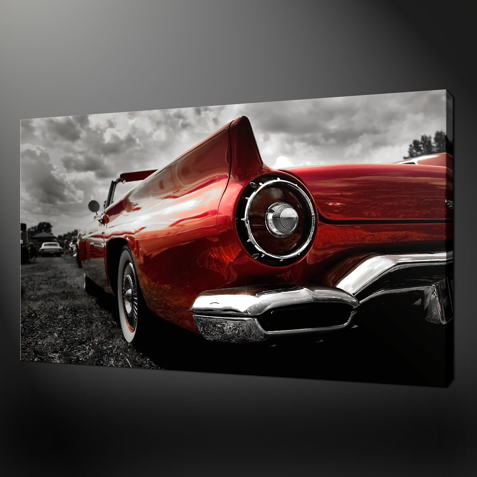 Classic Red Car Canvas Print Picture Wall Art Regarding Most Current Car Canvas Wall Art (Gallery 10 of 20)