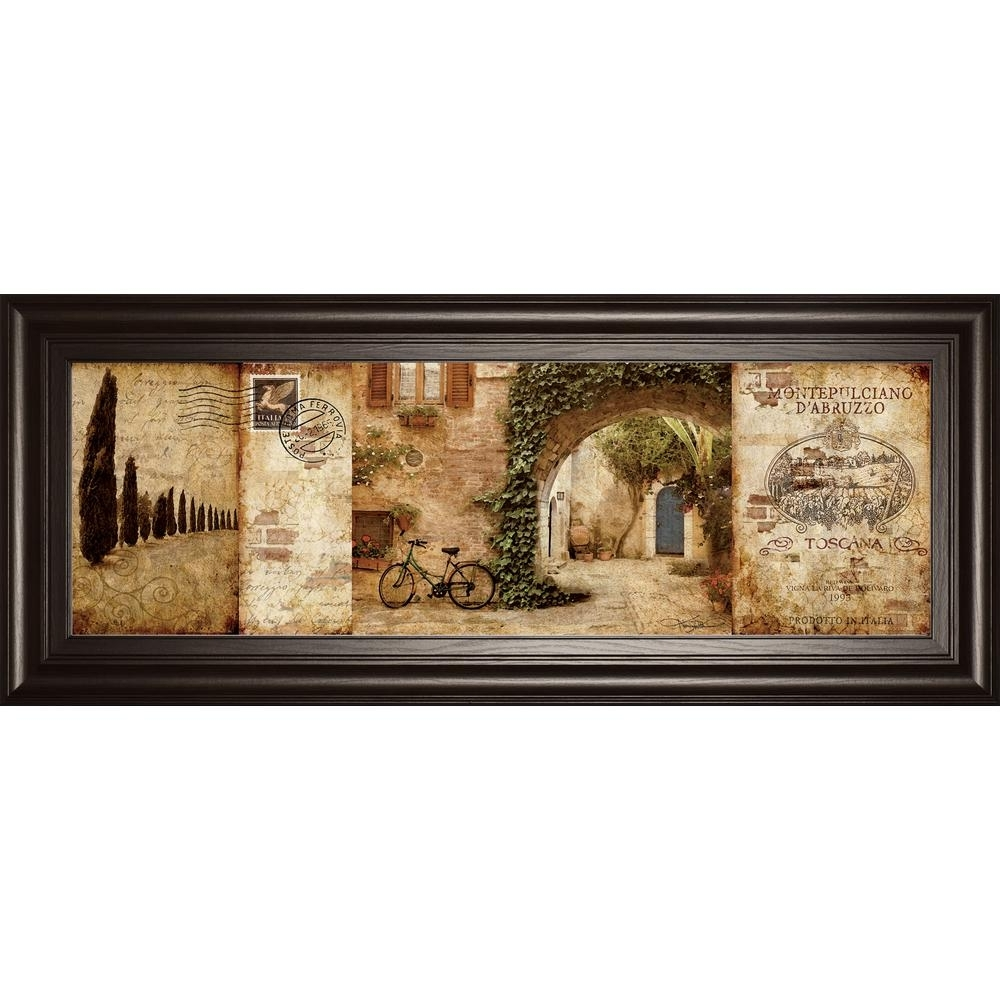 "Classy Art 18 In. X 42 In. ""tuscan Courtyard""keith Mallet Framed With Latest Tuscan Wall Art (Gallery 15 of 20)"