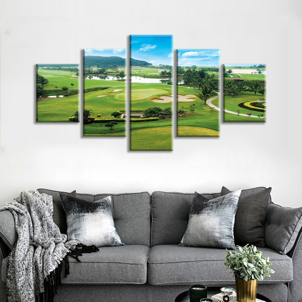 Clearance Miles Golf Course 5 Panels Stretched And Framed For Most Current Golf Canvas Wall Art (Gallery 20 of 20)