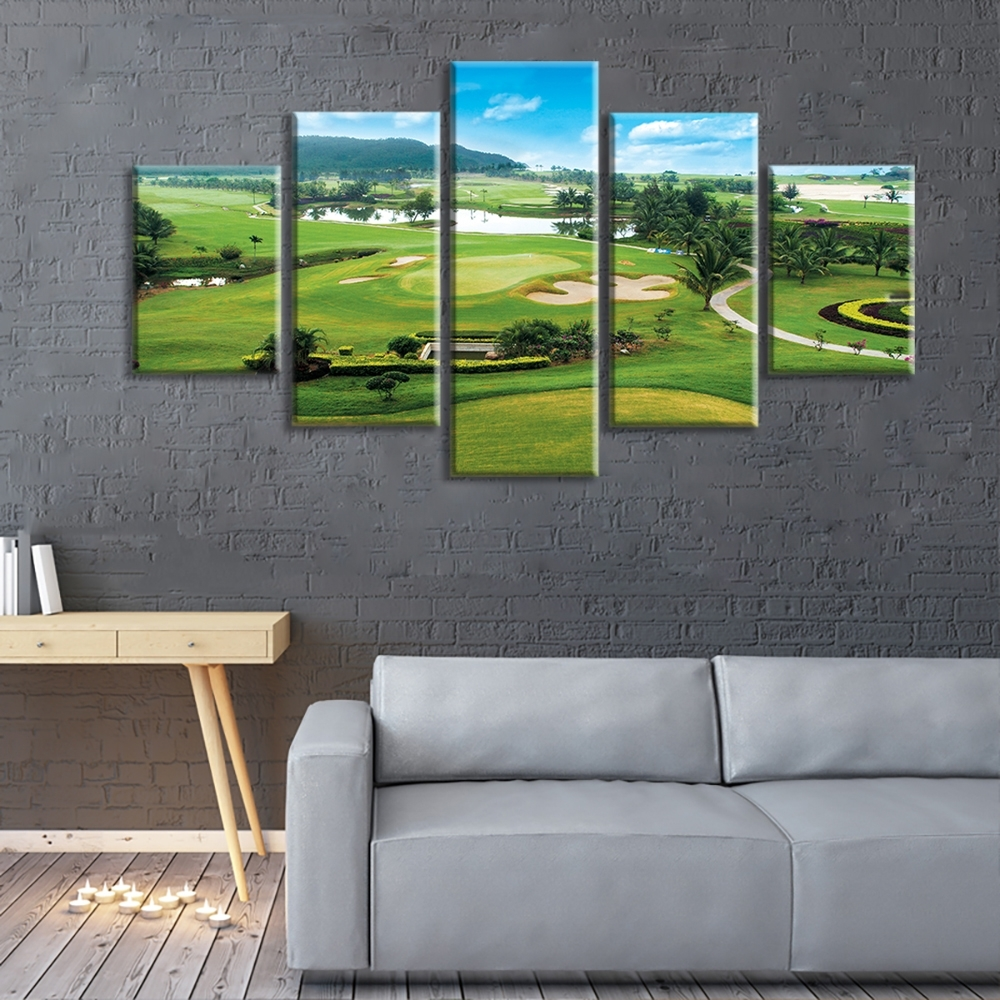 Clearance Miles Golf Course 5 Panels Stretched And Framed Inside 2017 Golf Canvas Wall Art (View 10 of 20)