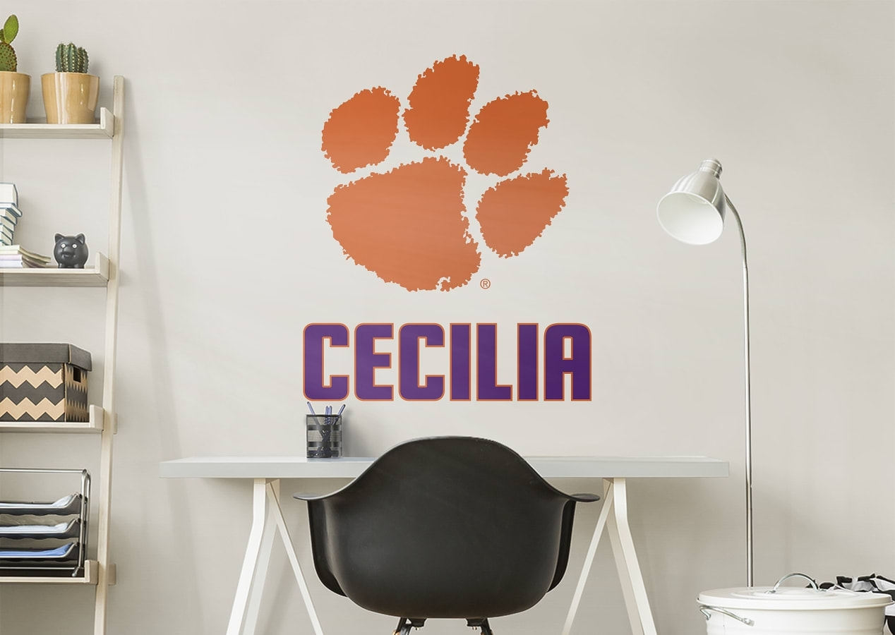 Clemson Tigers Stacked Personalized Name Wall Decal | Shop Fathead Within Most Up To Date Name Wall Art (Gallery 18 of 20)