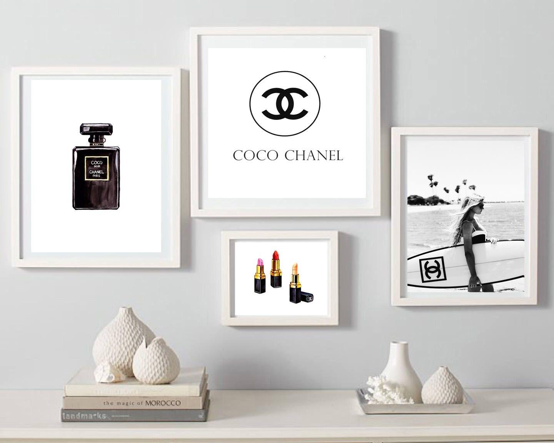 Coco Chanel Print, Fashion Wall Art, Set Of 4 Wall Decor, Coco Regarding 2018 Fashion Wall Art (View 6 of 20)