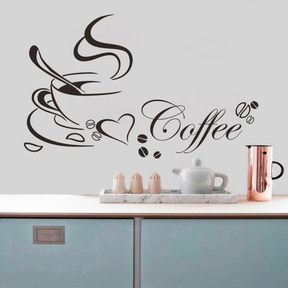 Coffee Cup With Heart Vinyl Quote Restaurant Kitchen Removable Wall With 2018 Home Decor Wall Art (View 2 of 20)