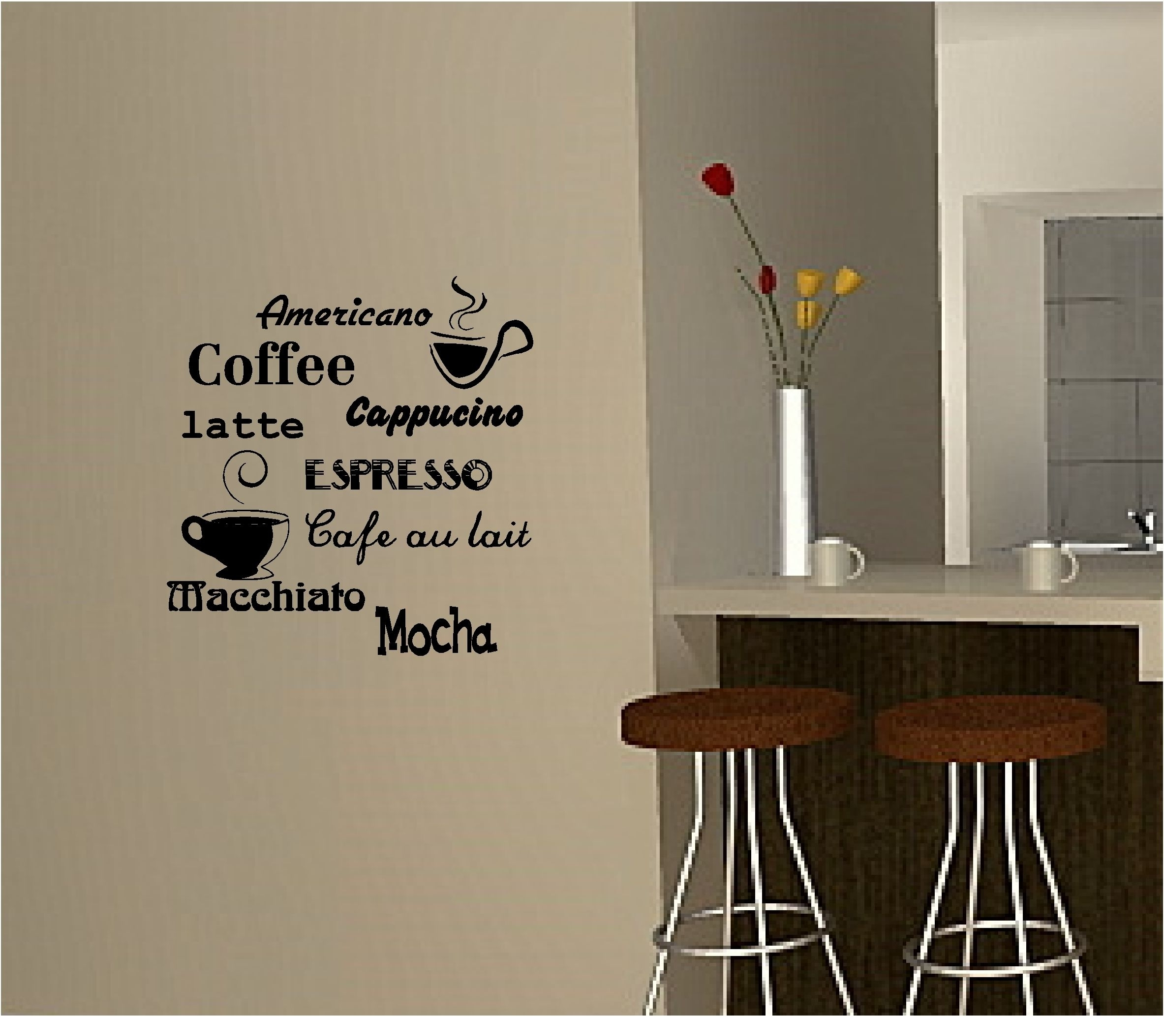 Coffee Wall Art Sticker Vinyl Quote Kitchen Cafe | Writing On The Throughout Most Recent Wall Art For Kitchen (View 4 of 20)