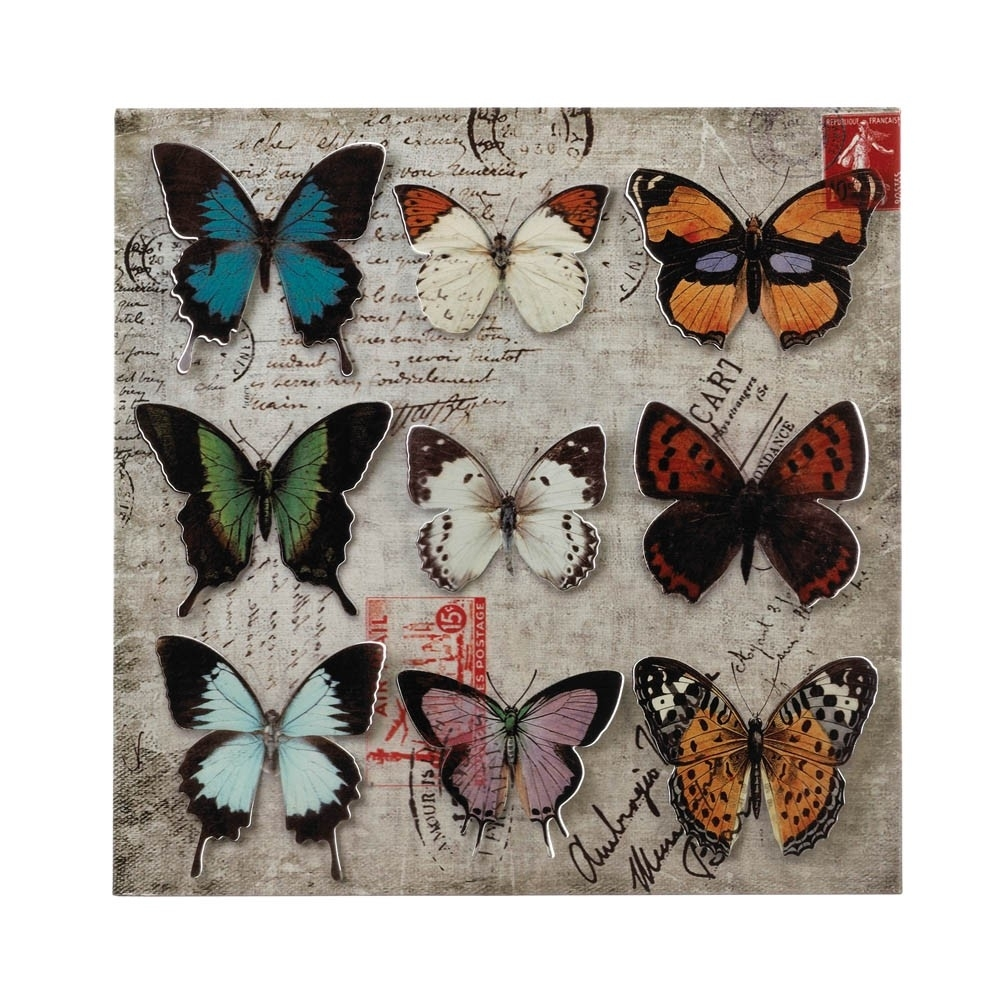Collage Butterfly Tin Wall Art – Upc 849179026790 Inside Newest Tin Wall Art (View 5 of 20)