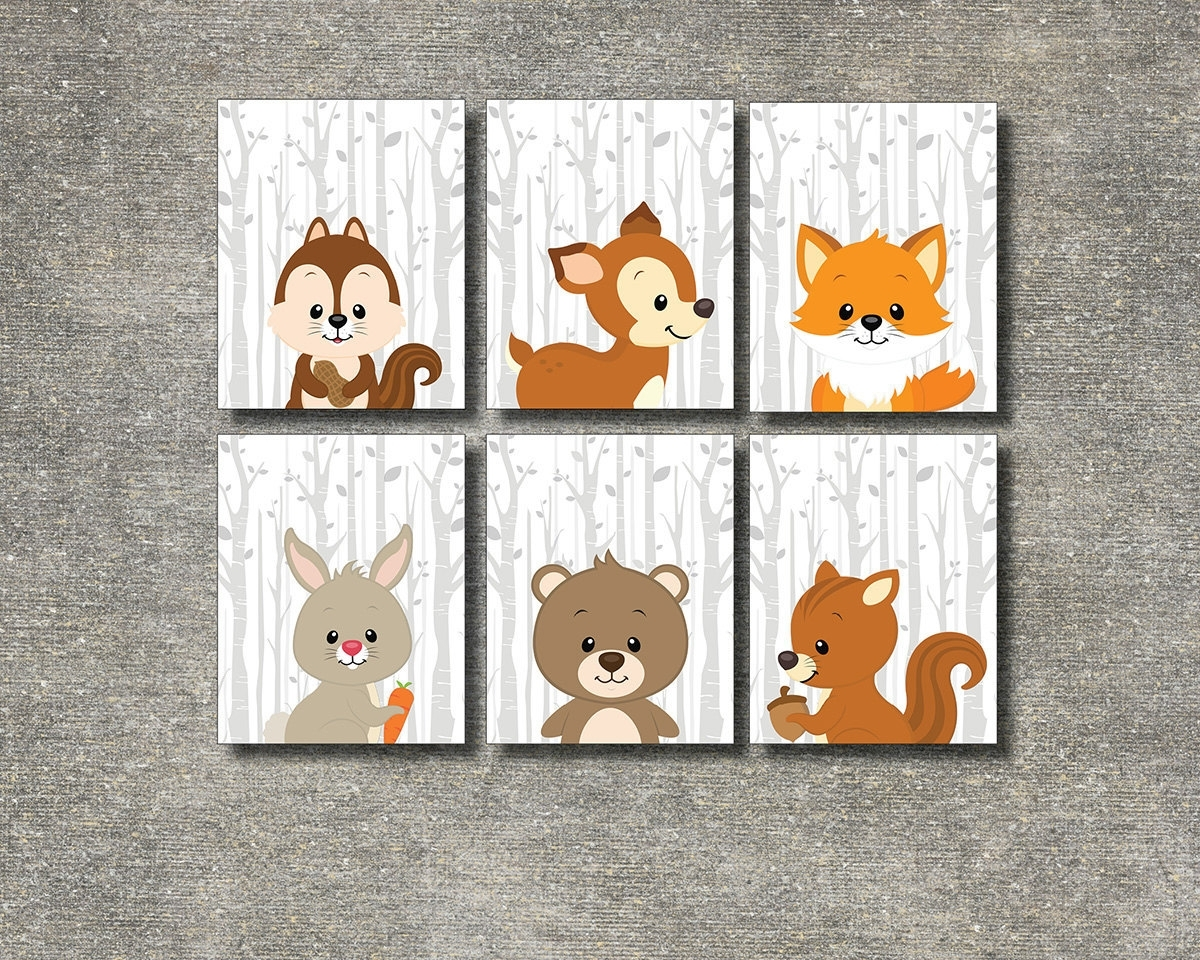 Colorful Cloud Studio — Woodland Animals Set Of 6 – Printable Throughout Most Popular Woodland Nursery Wall Art (View 2 of 20)