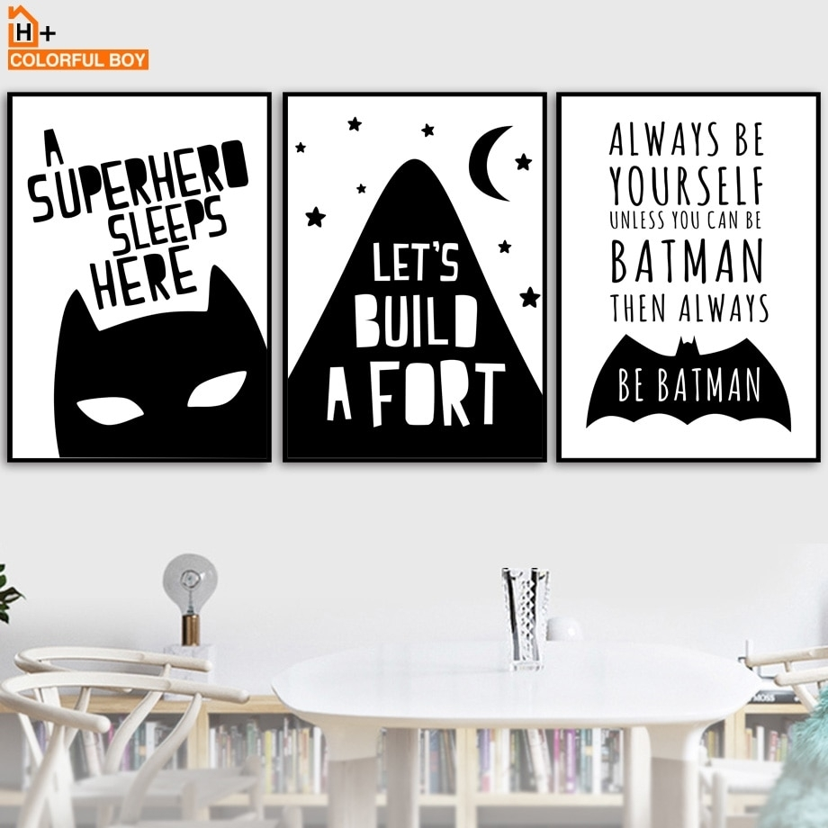 Colorfulboy Batman Wall Art Print Canvas Painting Black White With Most Up To Date Batman Wall Art (View 5 of 20)