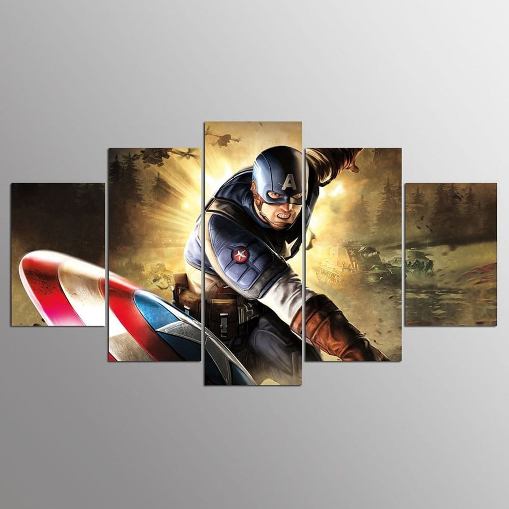 Colormix 30X40Cmx2+30X60Cmx2+30X80Cmx1(12X16Inchx2+12X24Inc Ysdafen Throughout Most Up To Date Captain America Wall Art (View 6 of 15)