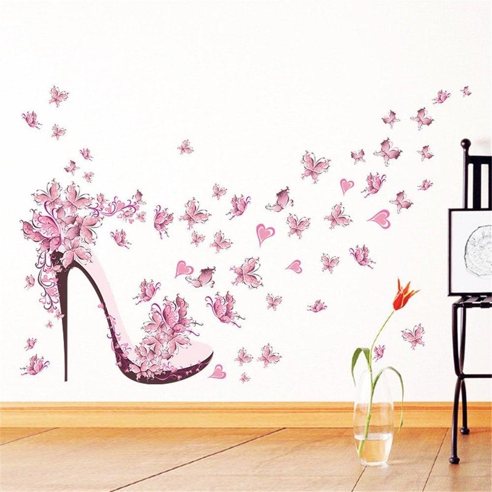 Colormix Pink Butterfly High Heels Wall Art Sticker Home Decoration Regarding 2017 Pink Wall Art (View 18 of 20)