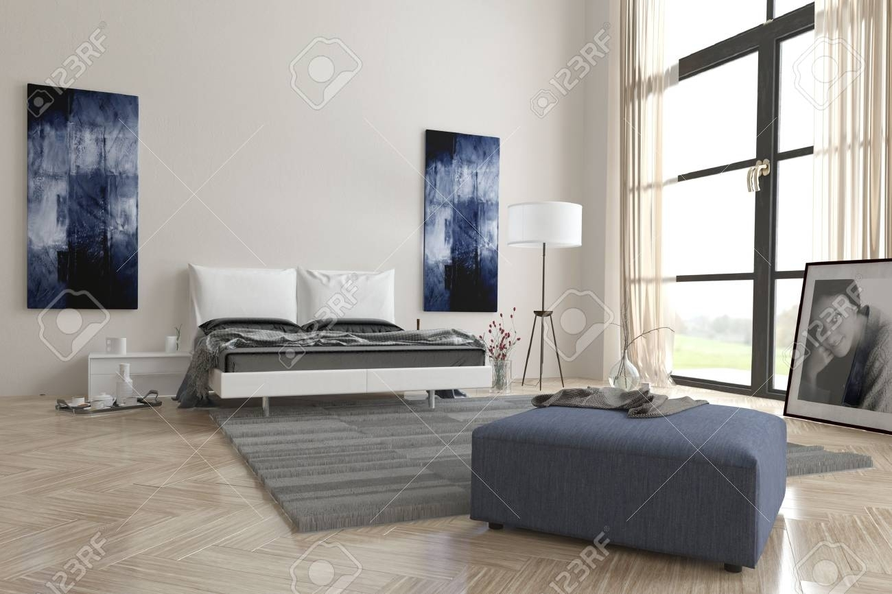 Comfortable Contemporary Grey And White Bedroom Interior With Inside Latest Grey And White Wall Art (View 13 of 20)