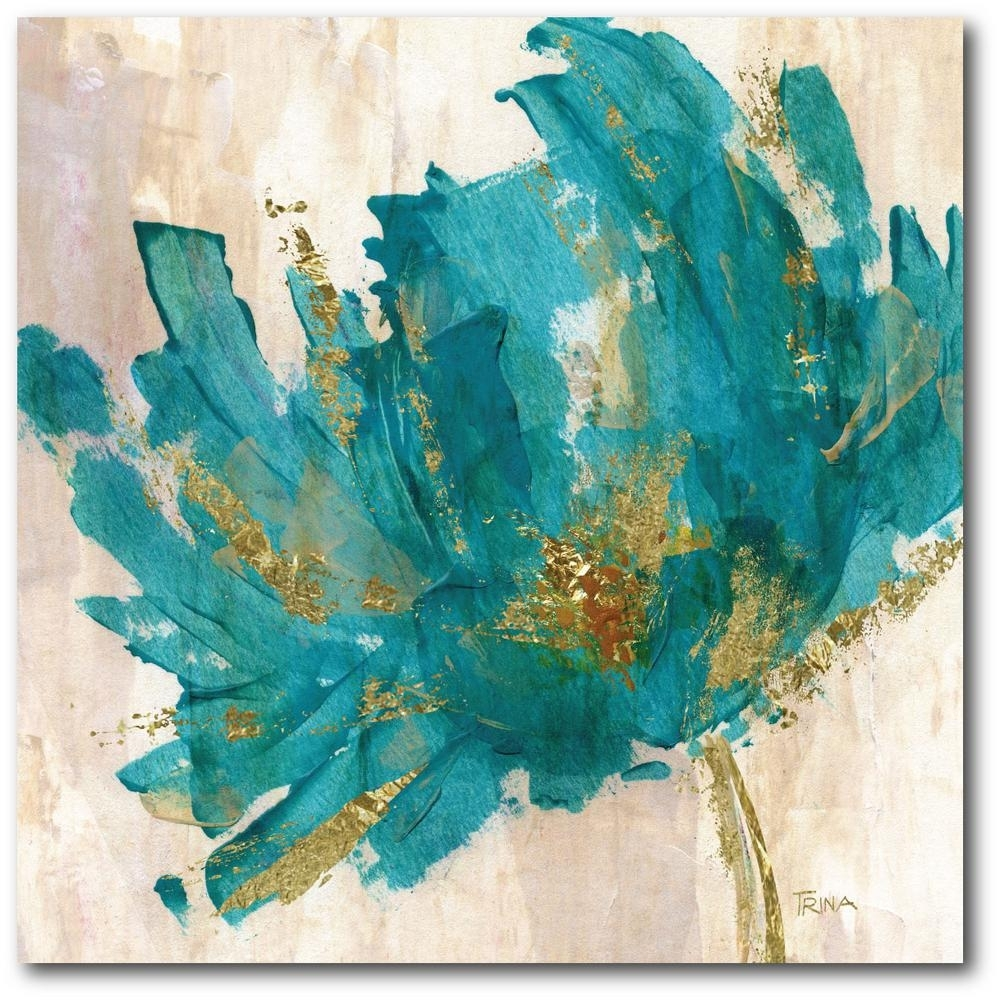Contemporary Teal Flower Canvas Wall Art Web Ac180T – The Home Depot With Regard To Best And Newest Teal Wall Art (View 4 of 15)
