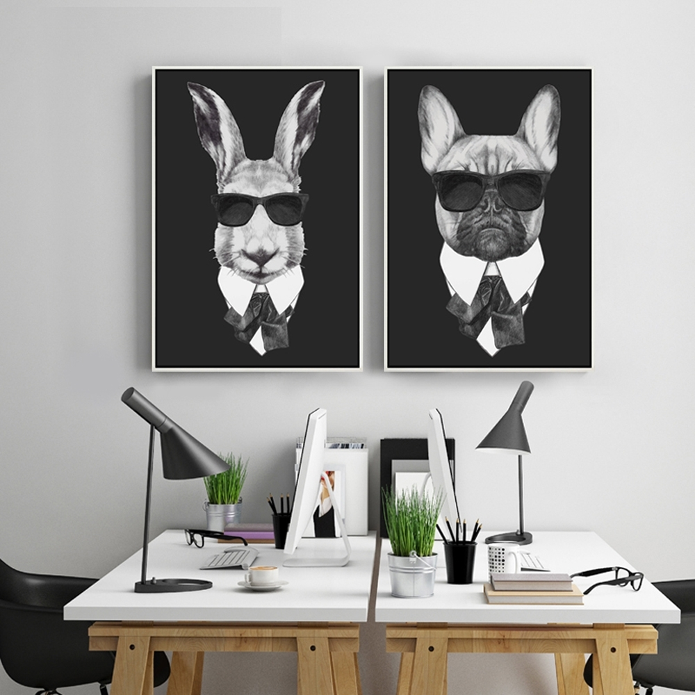 Cool Rabbit Pig Drawing With Glasses Canvas Wall Art Print Painting In Current Cool Wall Art (View 5 of 15)