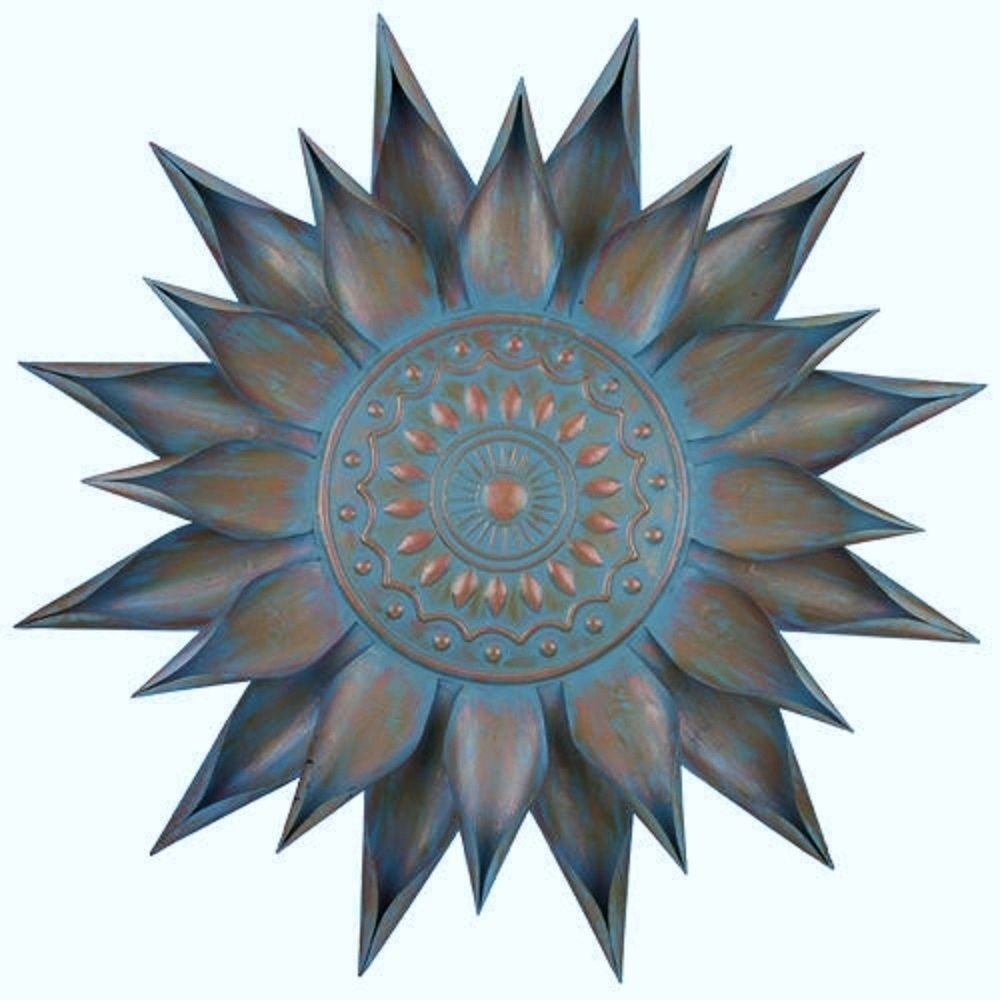 Copper Turquoise Giant Flower Bloom Wall Art Decor Metal Sun Burst With Most Up To Date Outdoor Sun Wall Art (View 3 of 15)