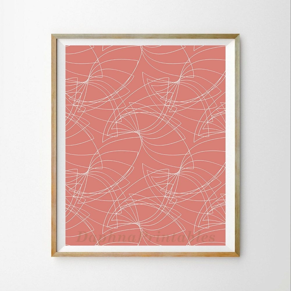 Coral Wall Art Décor Geometric Wall Art Printable Geometric Download Within Latest Coral Wall Art (Gallery 18 of 20)
