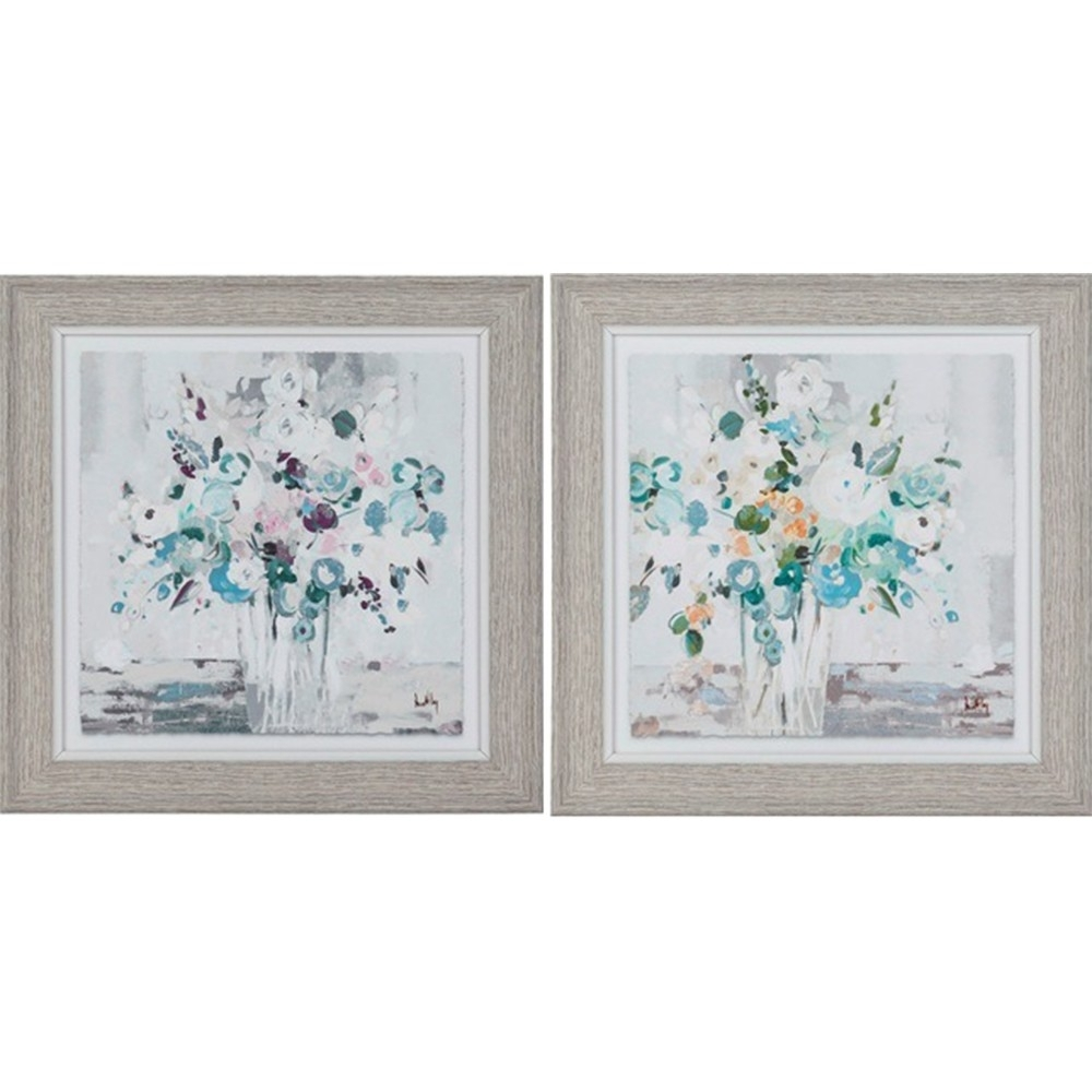 Country French Inspired Wall Art Floral 25X25Cm Framed Print Set Of Regarding Most Current Set Of 2 Framed Wall Art (View 6 of 20)