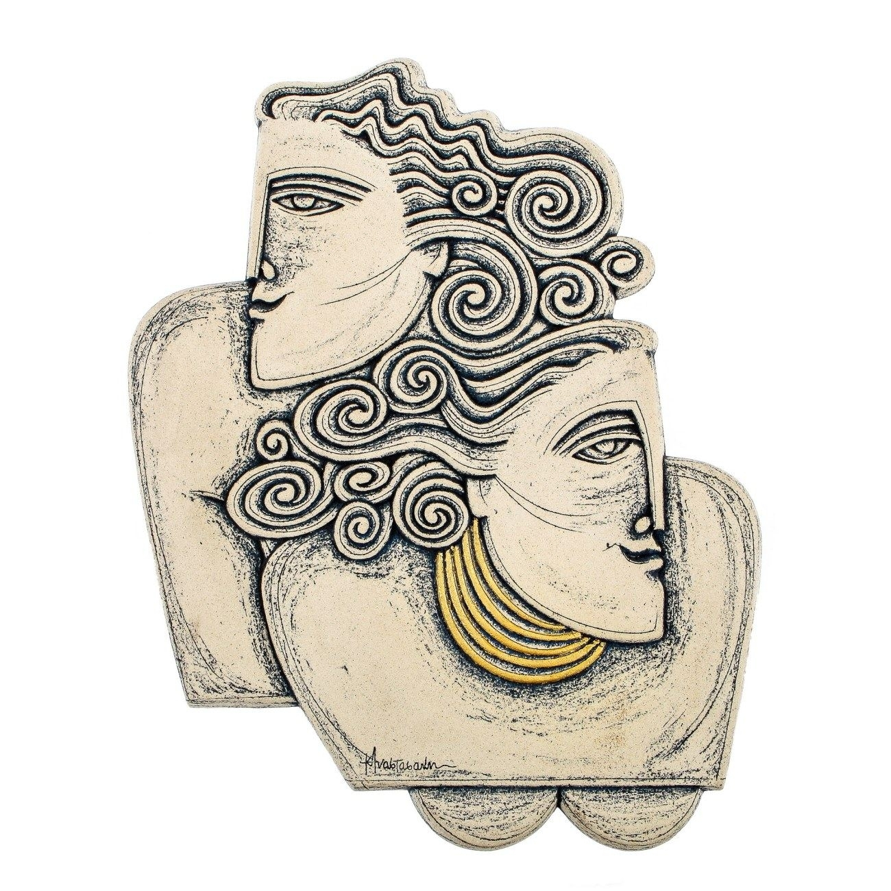 Couple Figurines Ceramic Handmade Sculpture Wall Art Decor – Archaic Throughout Most Popular Ceramic Wall Art (View 10 of 20)