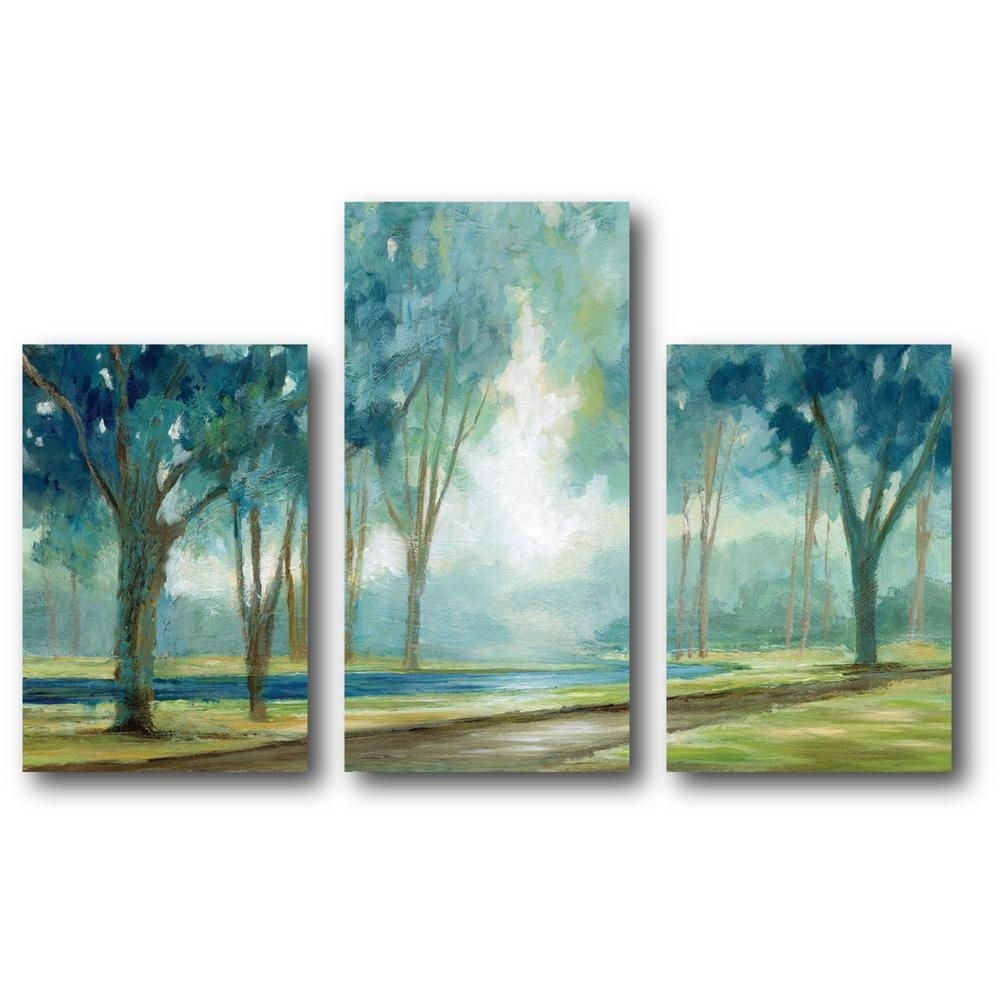 Courtside Market Teal Tranquil Tree Canvas Wall Art Web Mcls181B In Newest Teal Wall Art (View 5 of 15)