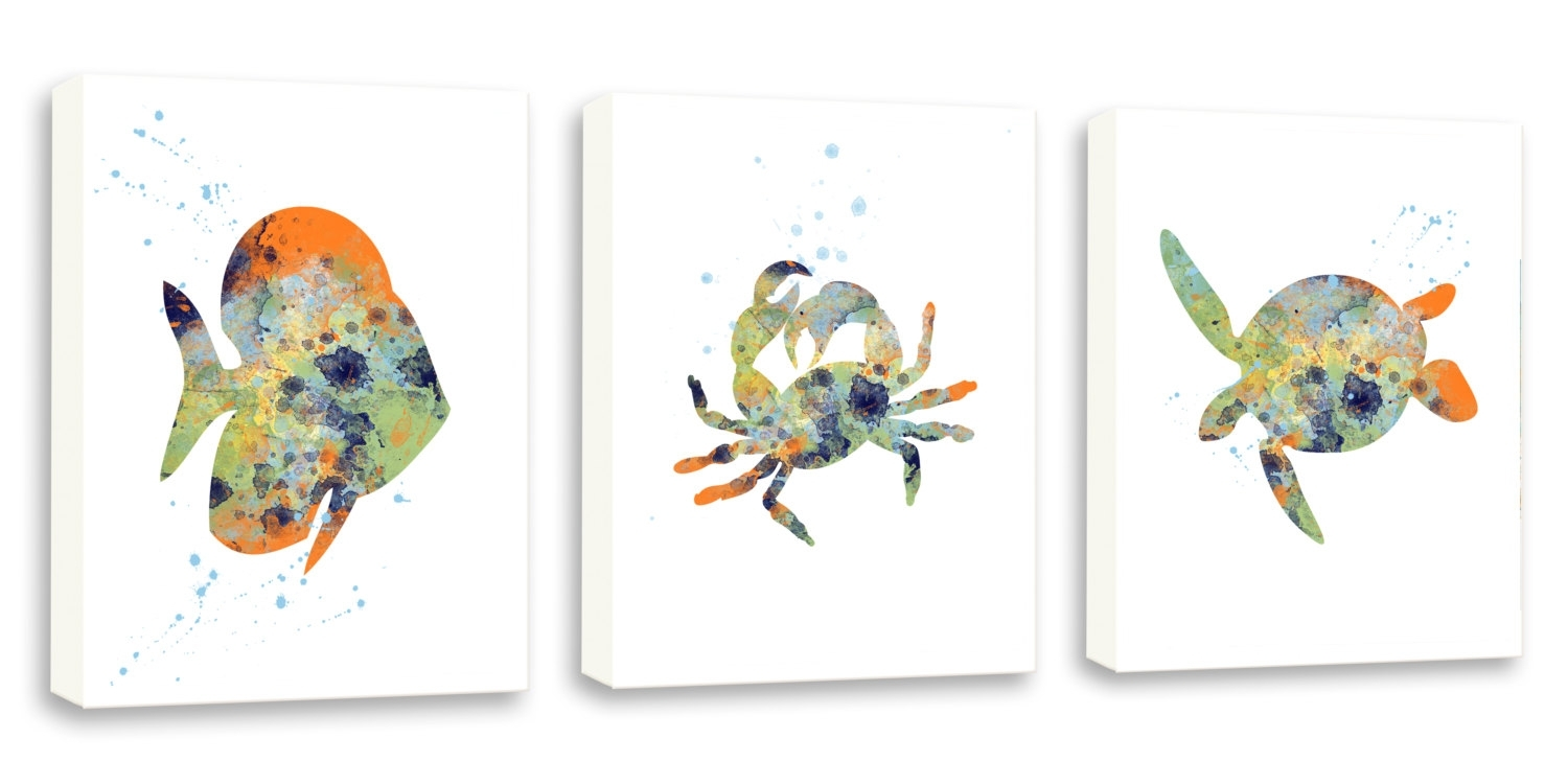 Crab Wall Art Sea Life Decor Bathroom Wall Art Set Of Three, Sea For Latest Sea Life Wall Art (View 3 of 15)