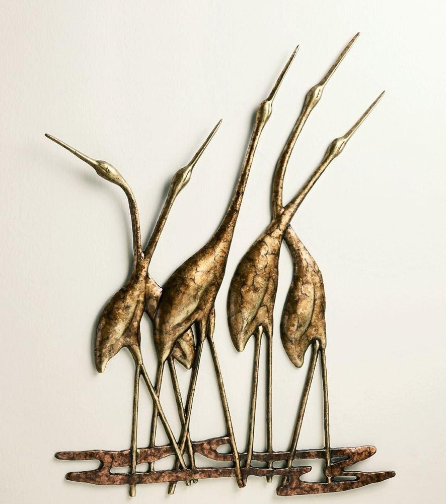 Crane Quintet Wall Art Sculpture Metal Heron Bird Gold & Bronze Pertaining To Newest Wall Art Metal (View 14 of 20)