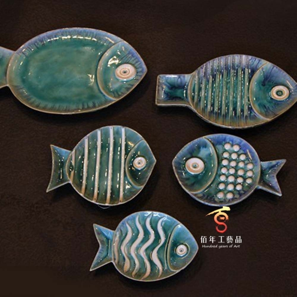 Creative Background Wall Decoration Ceramic Fish Wall Hangings Throughout Most Popular Ceramic Wall Art (View 11 of 20)