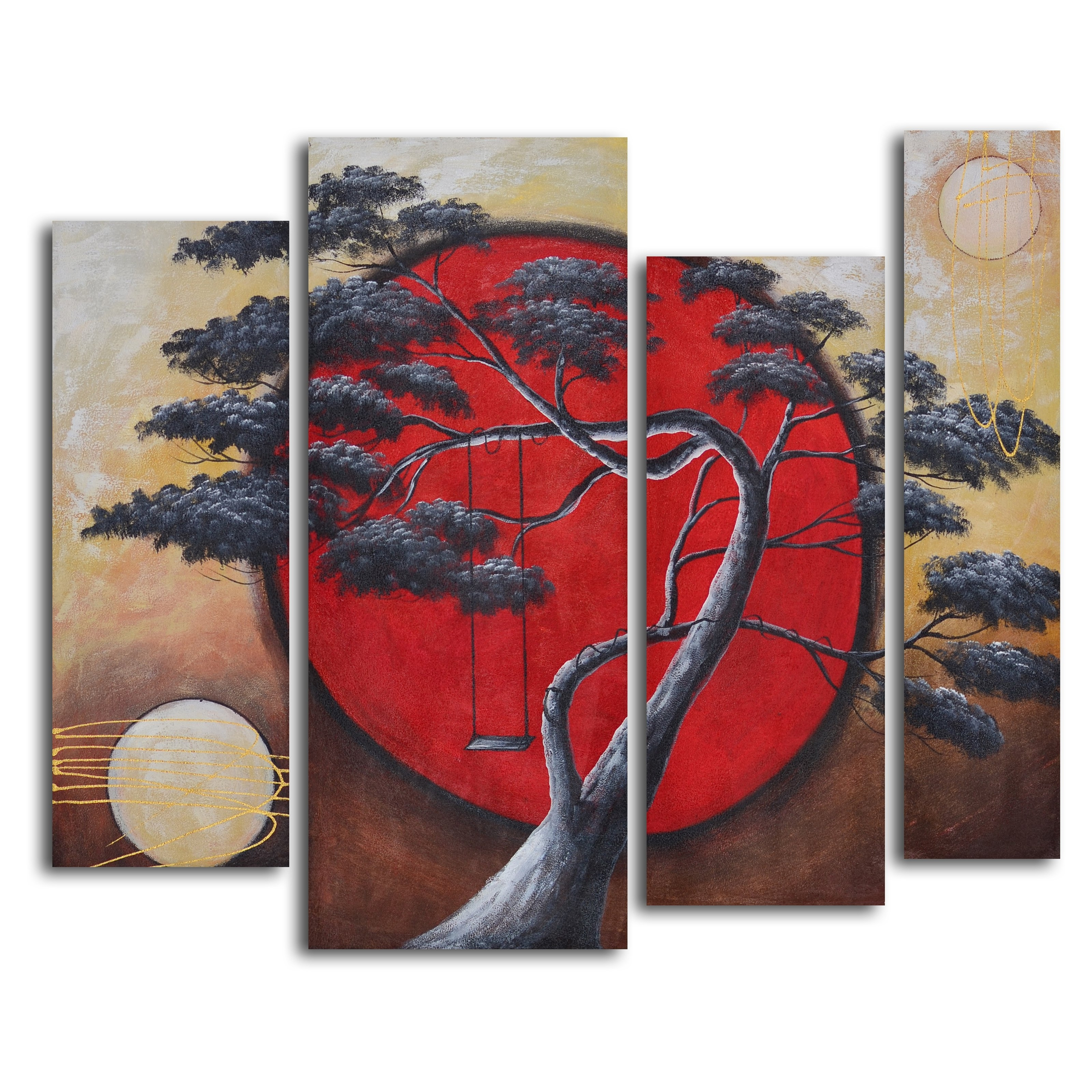 Crimson Sun / Midnight Moon 4 Piece Oil Painted Wall Art Set | Hayneedle Pertaining To Most Recent Asian Wall Art (Gallery 3 of 15)