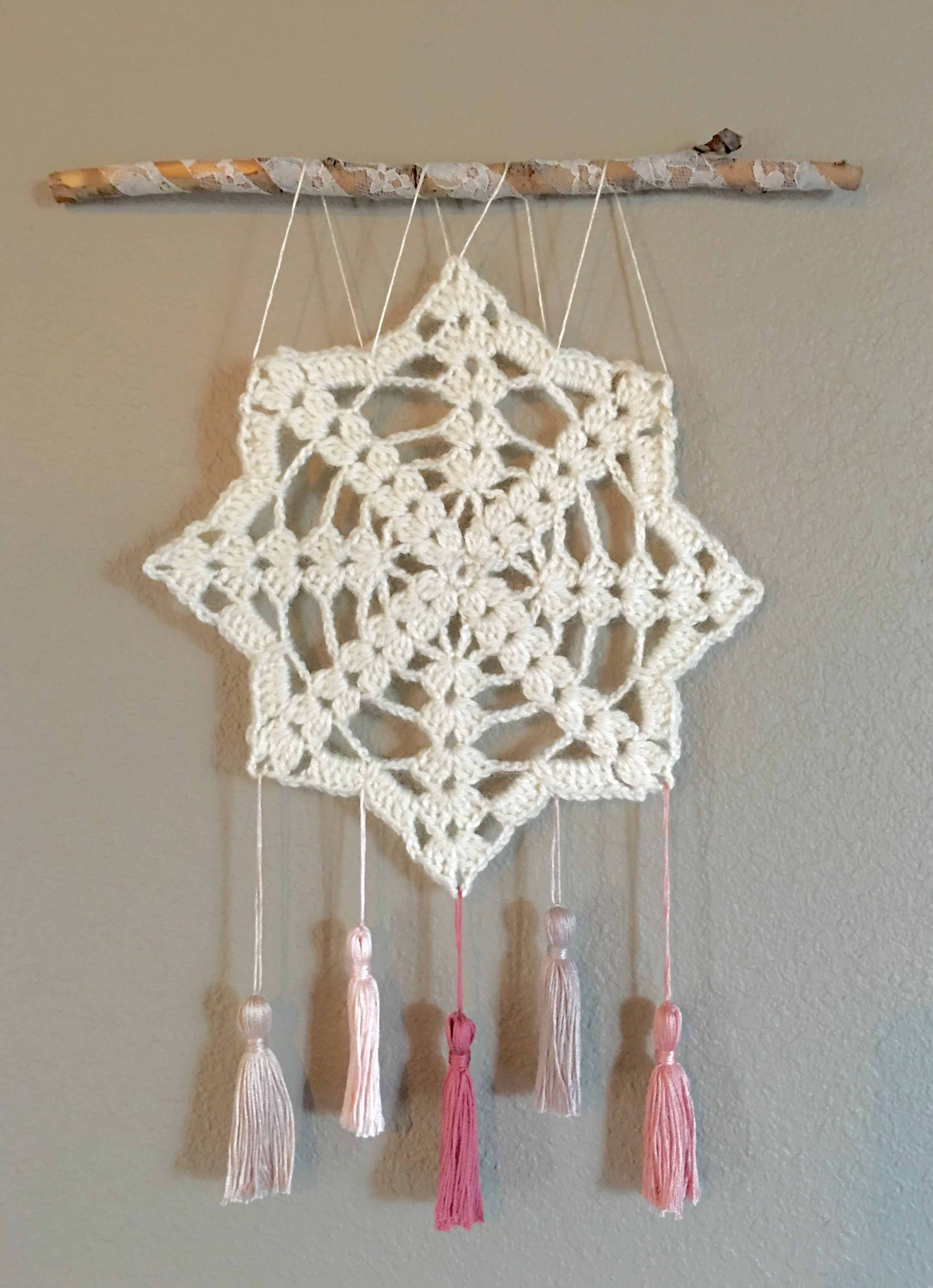 Crochet Wall Hanging, Wall Decor, Doily Art, Shabby Chic Wall Art Intended For Current Crochet Wall Art (View 9 of 20)