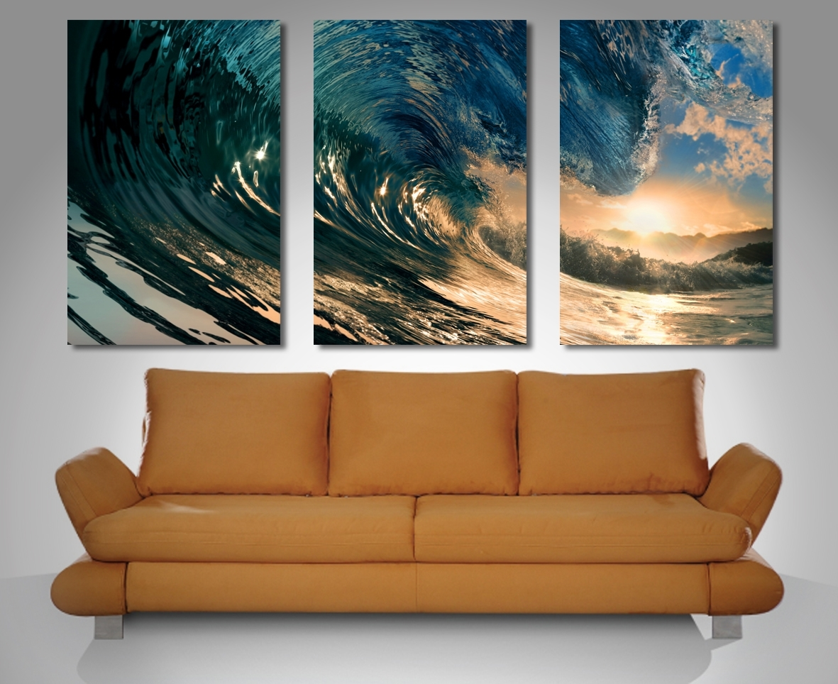 Crystal Wave Triptych 3 Panel Wall Art Pertaining To Current Panel Wall Art (View 3 of 20)