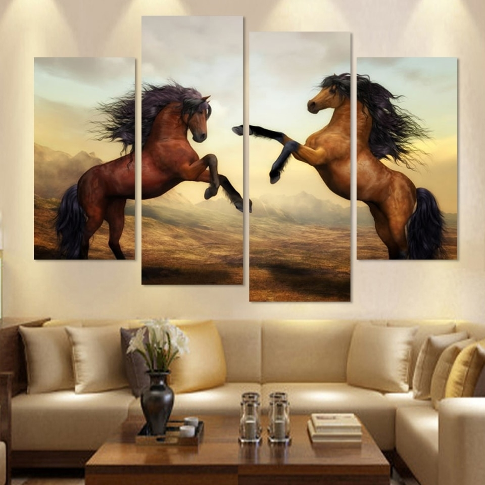Cuadros Canvas Painting 4 Piece Running Horse Painting Modern Wall Inside Newest Horses Wall Art (View 8 of 20)