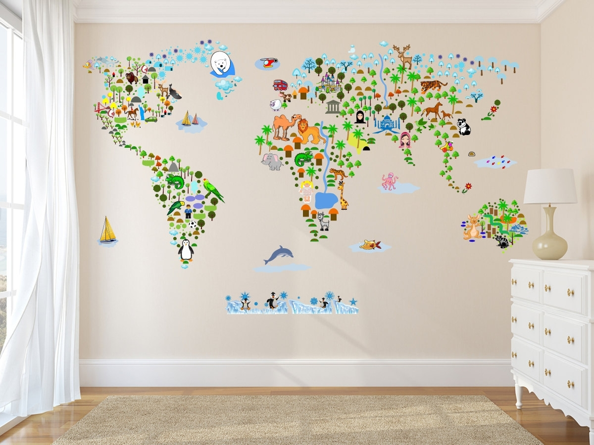 Cultural World Map Wall Decal Reusable Vinyl Fabric. Map Of Decor With Newest Wall Art Stickers World Map (Gallery 16 of 20)
