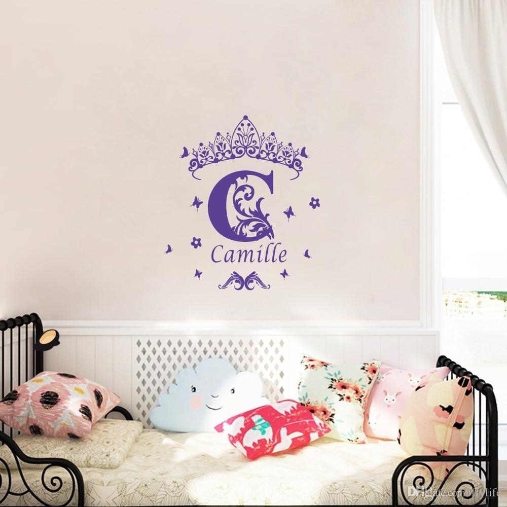 Custom Girls Name Vinyl Wall Sticker Crown Wall Art Decal For Best And Newest Personalized Wall Art (View 13 of 15)