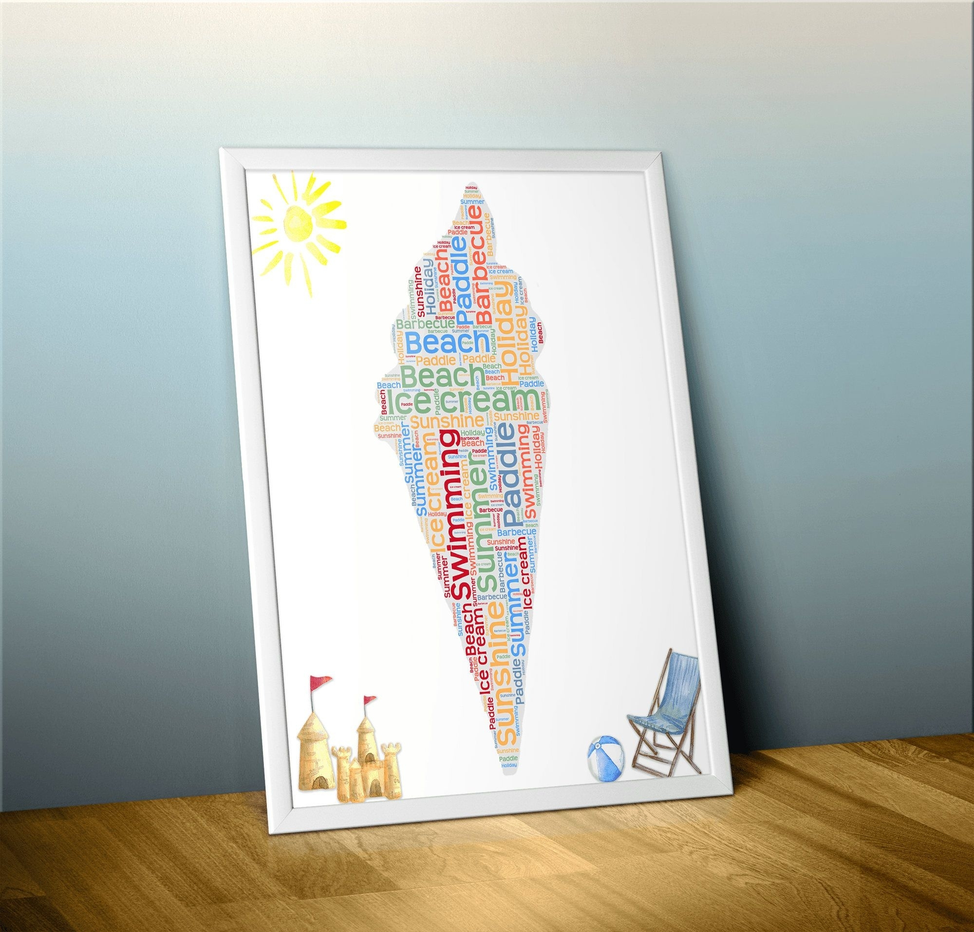 Custom Ice Cream Word Art, Custom Summer Word Cloud Art, Custom Word Throughout Recent Word Art For Walls (View 3 of 20)