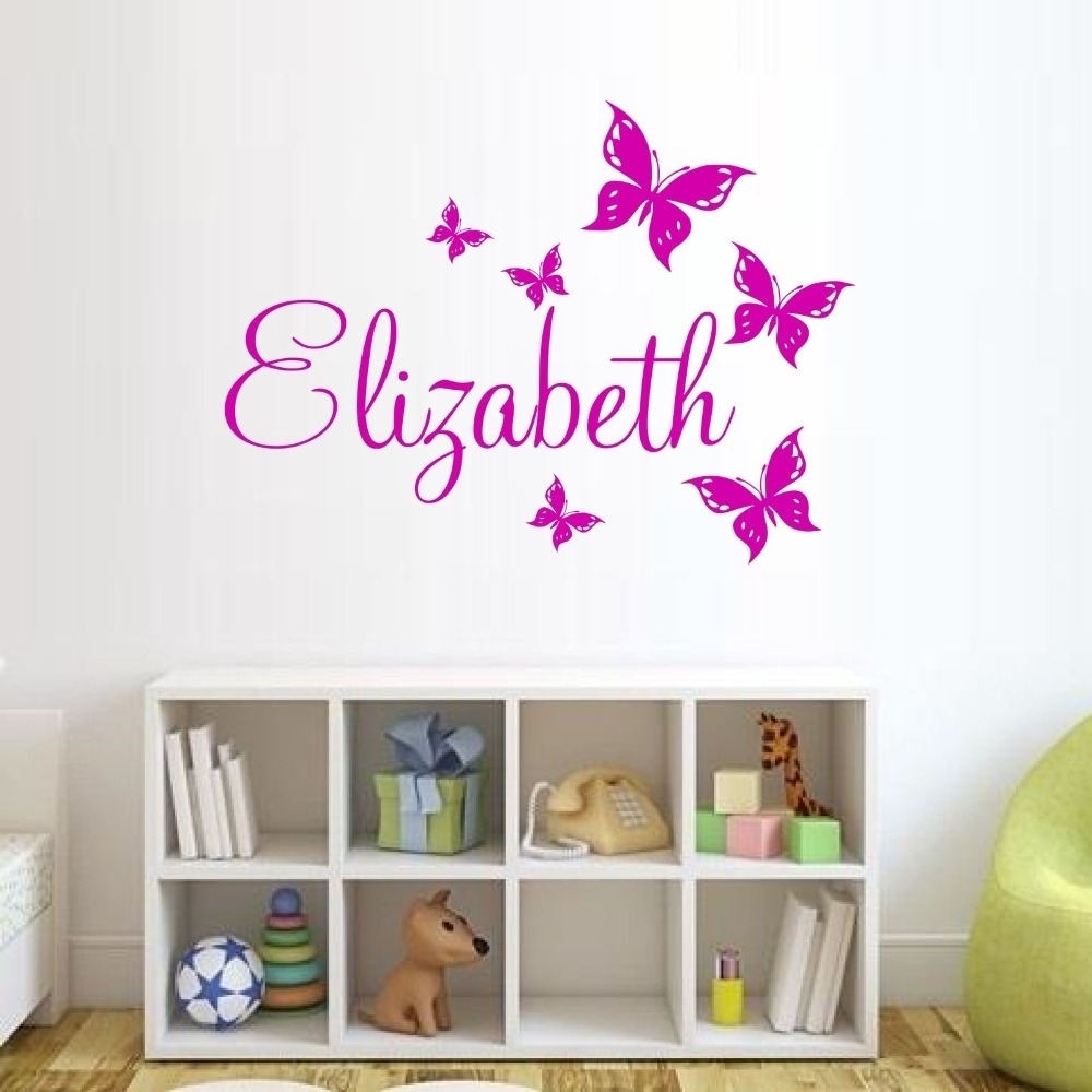 Custom Made Butterfly Personalized Wall Sticker Name Vinyl Wall For Most Recently Released Custom Wall Art (View 7 of 20)
