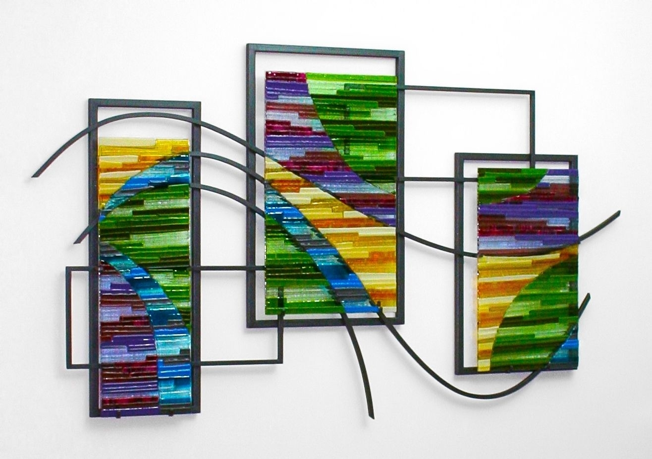 Custom Made Fused Glass And Metal Wall Artbonnie M. Hinz With Recent Glass Wall Art (Gallery 15 of 15)