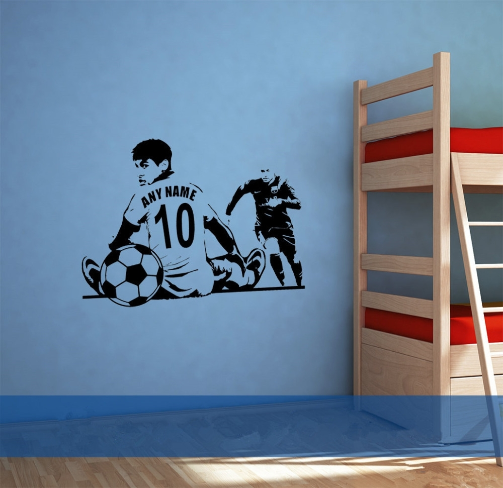 Custom Name Number Soccer Wall Sticker Sofa Background Decorative Throughout 2018 Soccer Wall Art (View 7 of 20)