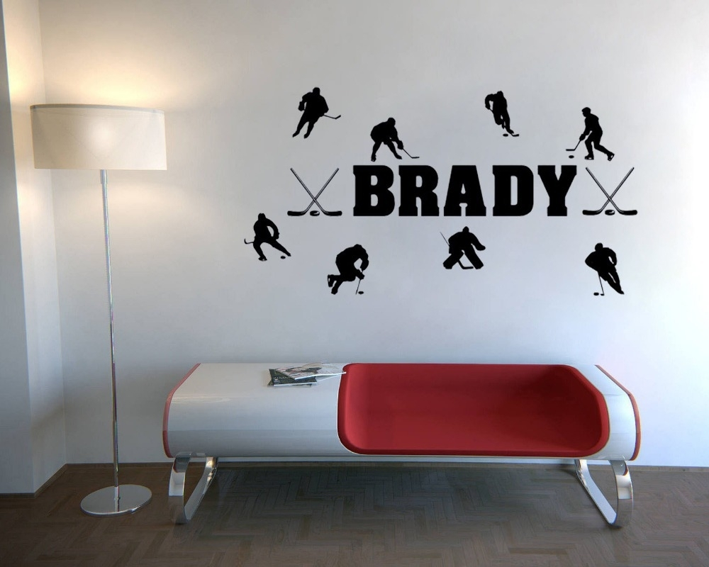 Custom Personalized Match Of Ice Hockey Wall Stickers Quotes Home Within Best And Newest Hockey Wall Art (View 2 of 15)