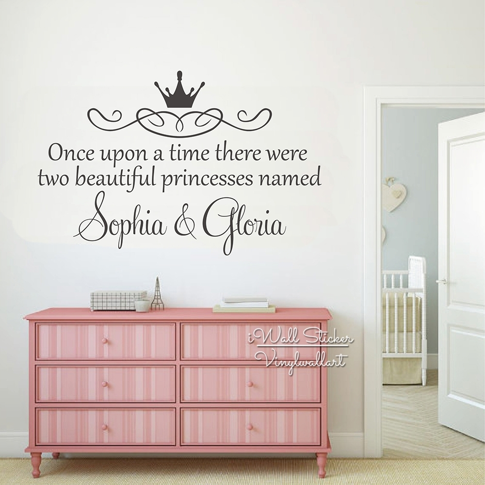Custom Twins Name Wall Sticker Girls Name Wall Art Decal Children In Most Recent Name Wall Art (View 3 of 20)