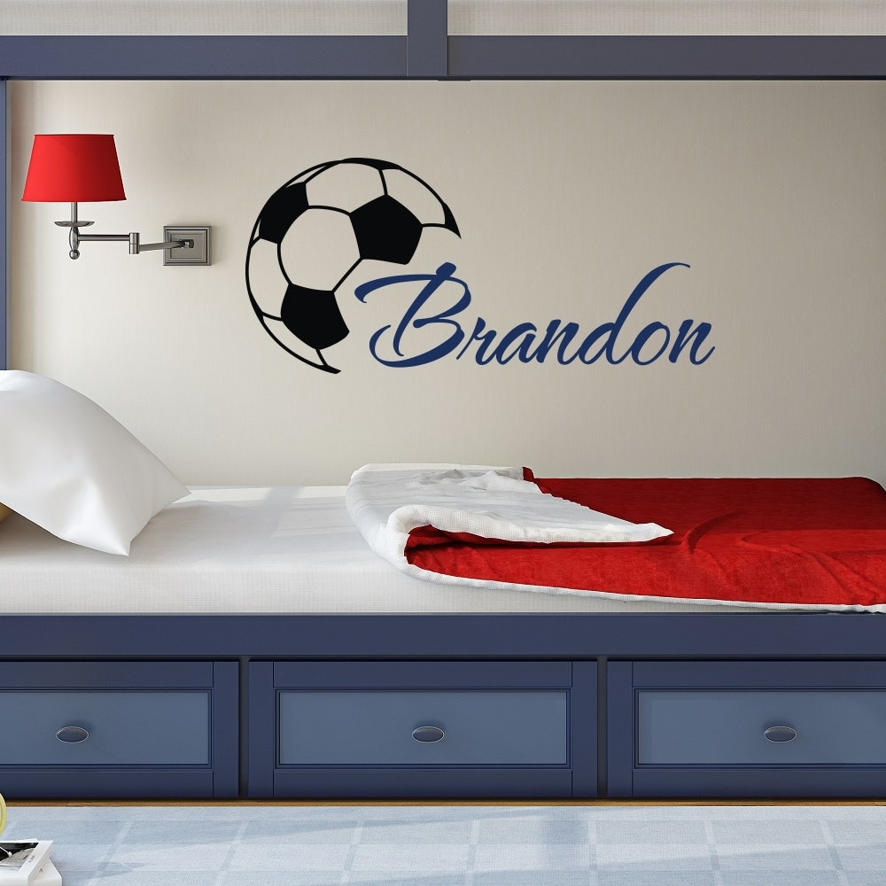 Custome Boys Name Wall Decals With Soccer Art Wall Stickers Throughout Best And Newest Baseball Wall Art (View 11 of 20)