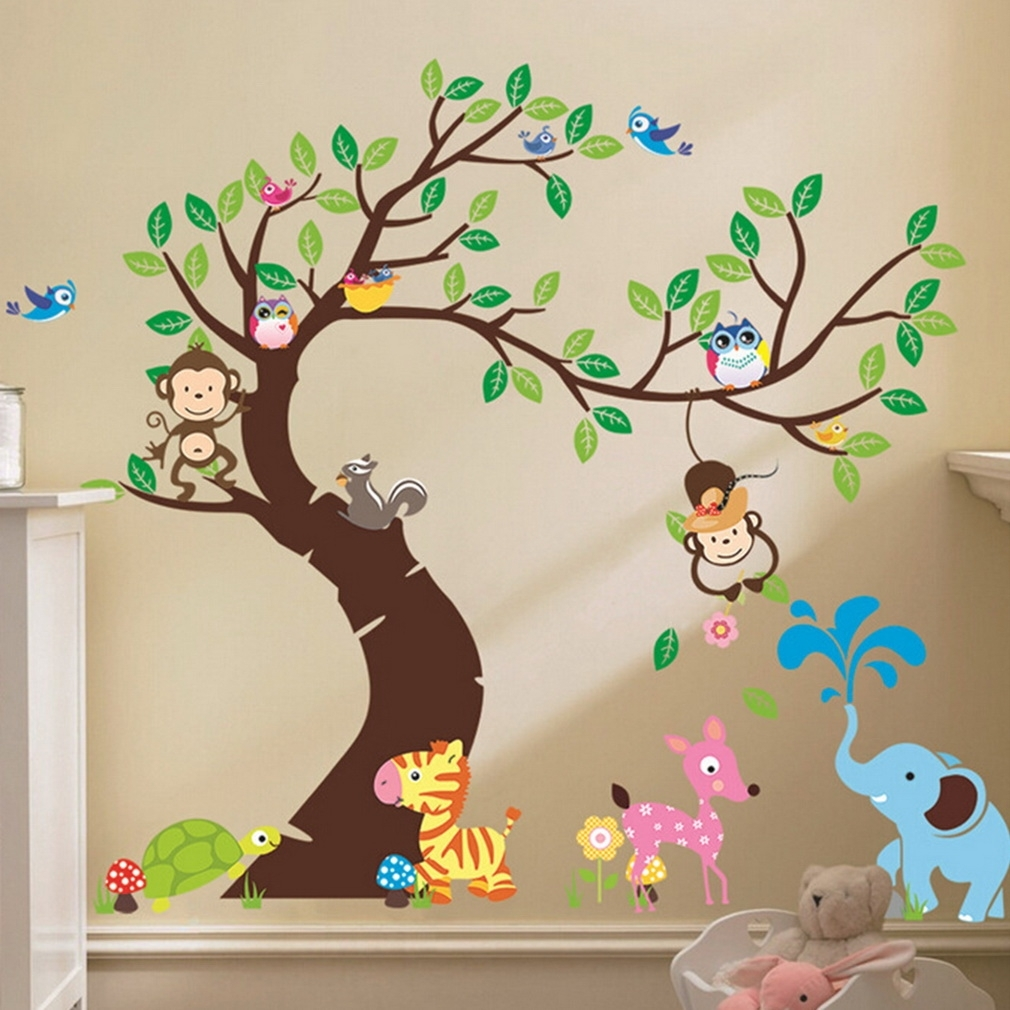 Cute Monkey Wall Sticker Zoo Original Animal Wall Arts For Kids Room Pertaining To Most Recent Baby Room Wall Art (View 8 of 20)