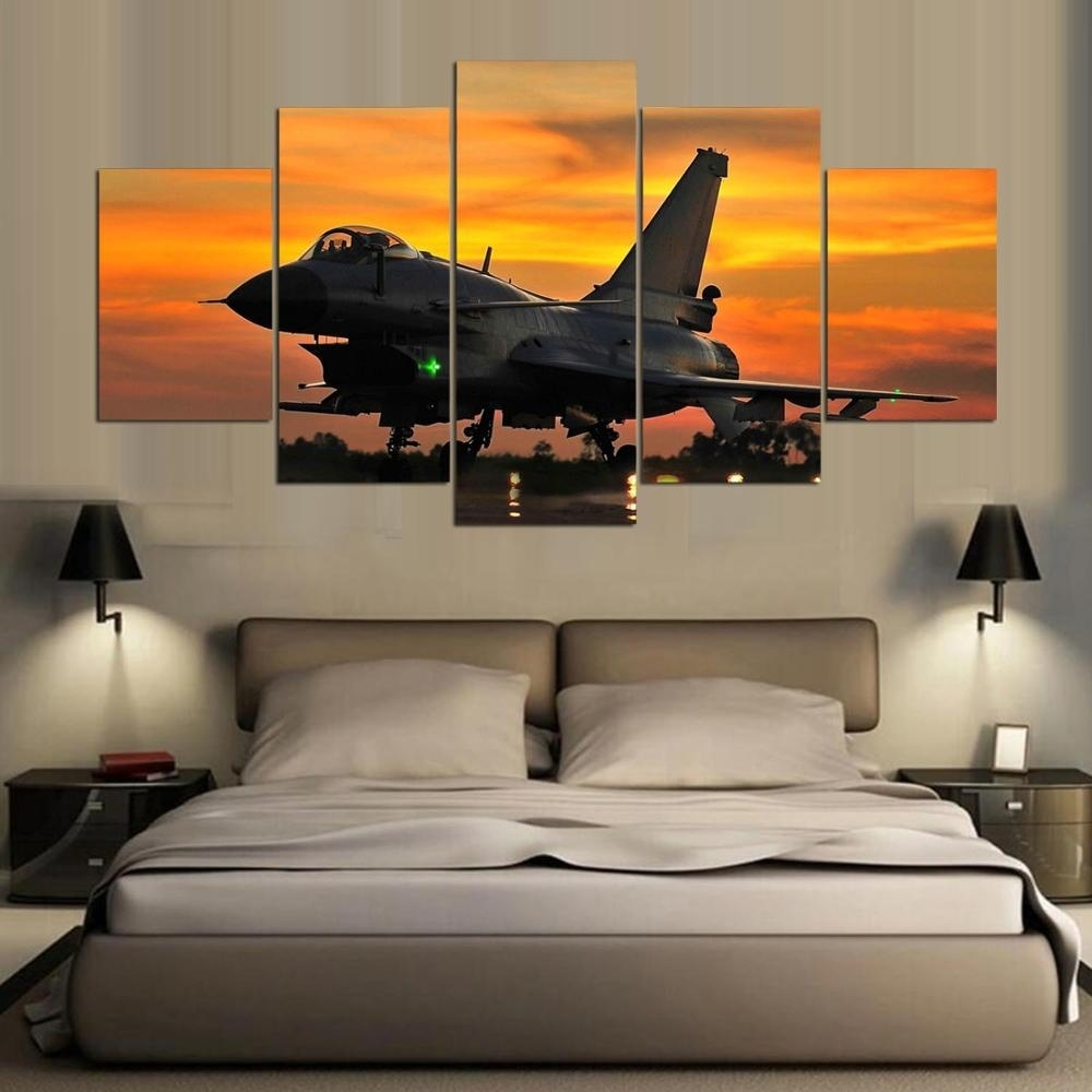 Dafenjingmo Arts 2017 Hottest 5 Piece Wall Art Painting Aviation for Most Up-to-Date Aviation Wall Art