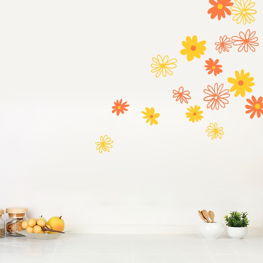 Daisy Wall Decals | Daisy Flower Wall Stickers | Wallums Throughout Latest Flower Wall Art (View 3 of 20)