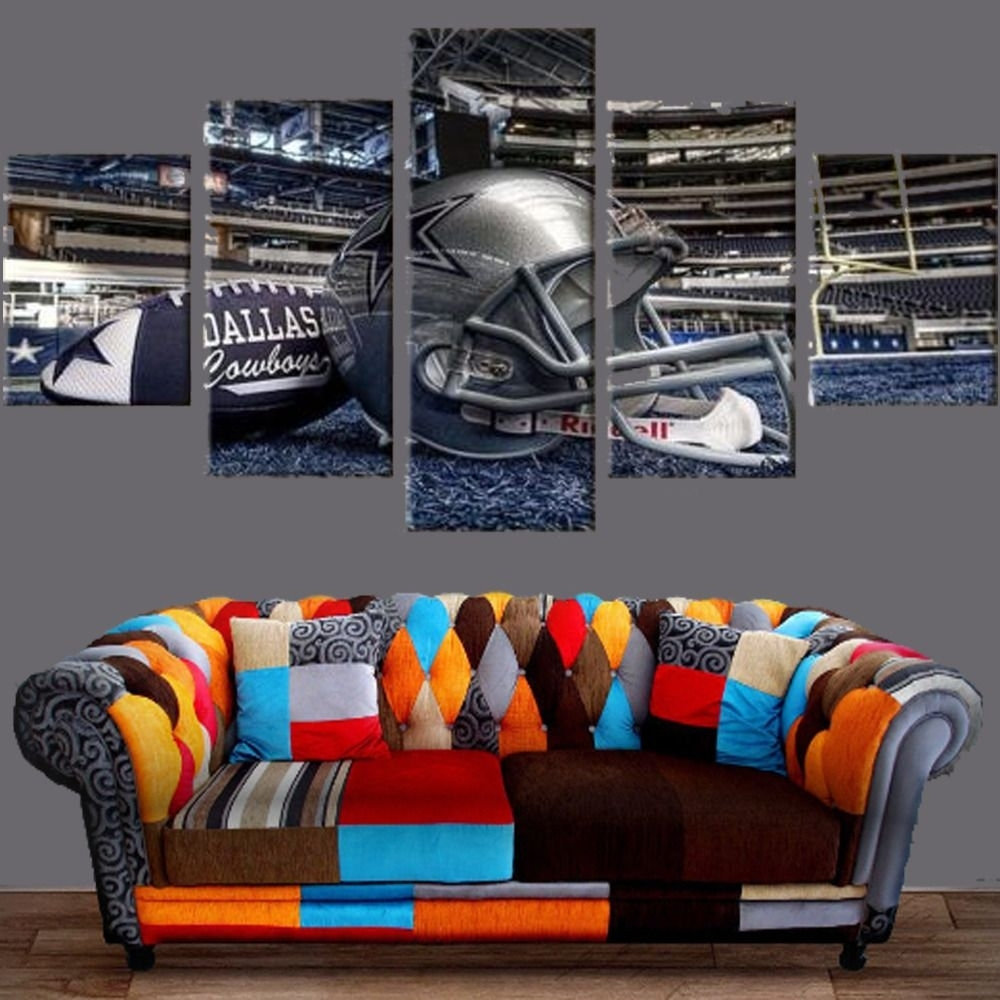 Dallas Cowboys Stadium Canvas Prints 5Pcs Painting Wall Art Sport With Most Popular Nfl Wall Art (View 8 of 15)