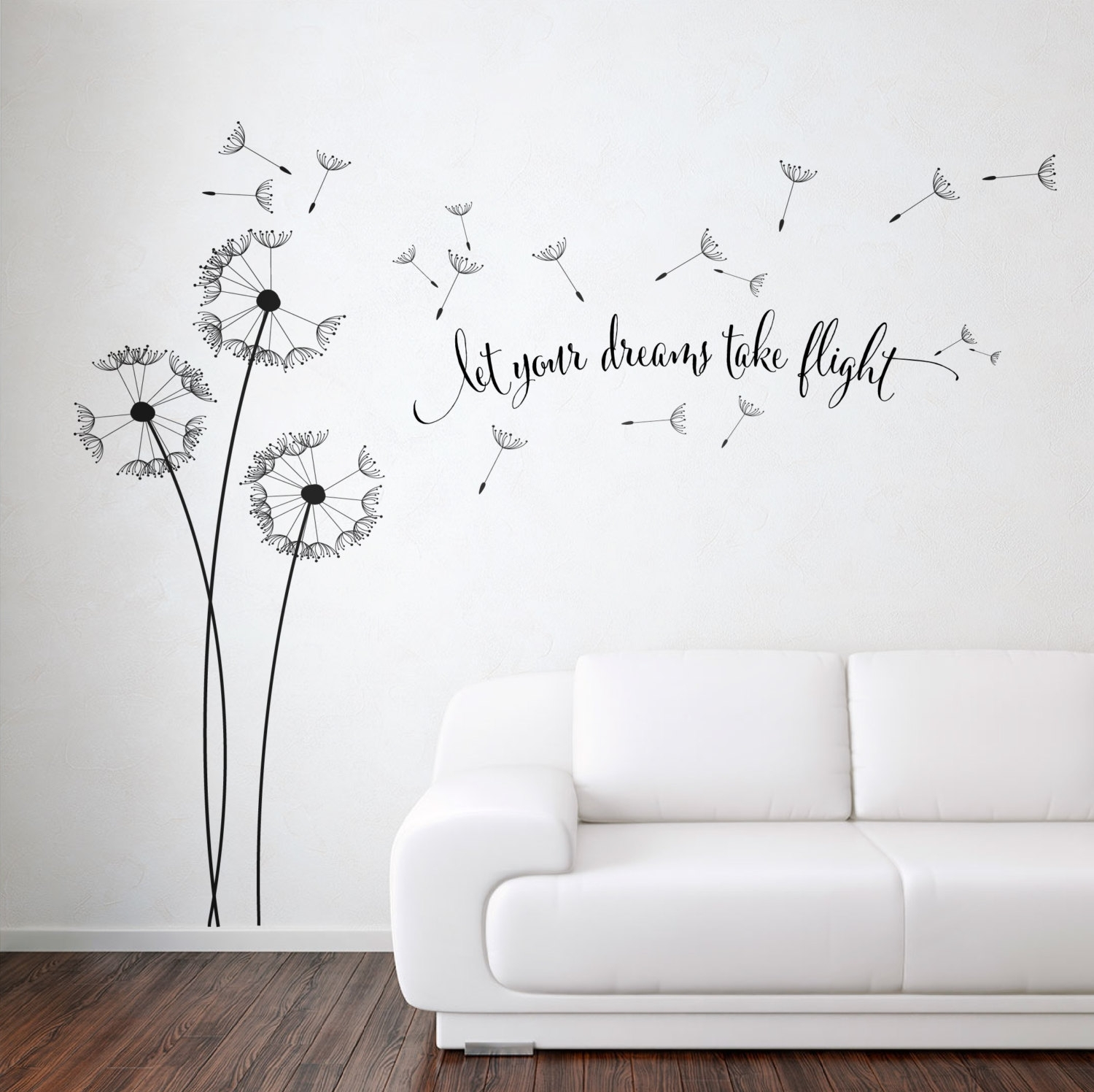 Dandelion Blowing With Quote Wall Sticker, Floral Sticker, Flower with Most Up-to-Date Dandelion Wall Art