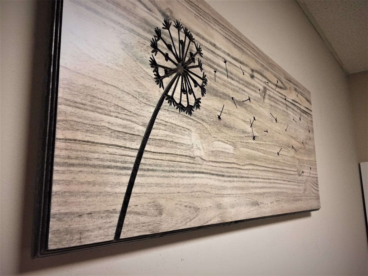 Dandelion Wall Art, Carved, Wood Wall Art, Home Decorhowdyowl On With Most Recent Dandelion Wall Art (View 17 of 20)